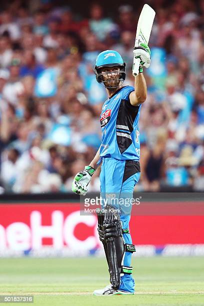 Alex Ross of the Adelaide Strikers celebrates after reaching 50 runs during the Big Bash League match between the Adelaide Strikers and the Melbourne...