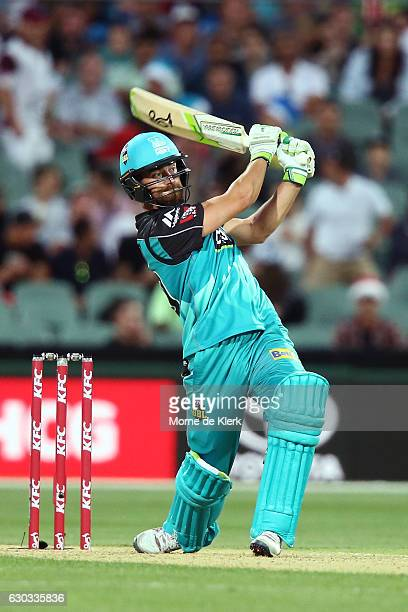 Alex Ross of the Brisbane Heat bats during the Big Bash League match between the Adelaide Strikers and Brisbane Heat at Adelaide Oval on December 21...