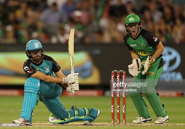 Alex Ross of the Brisbane Heat bats during the Big Bash League match between the Melbourne Stars and the Brisbane Heat at Melbourne Cricket Ground on...