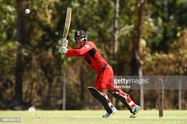 Alex Ross of the Desert Blaze bats during the Strike League match between the Desert Blaze and the Southern Storm at Marrara Cricket Ground on July...