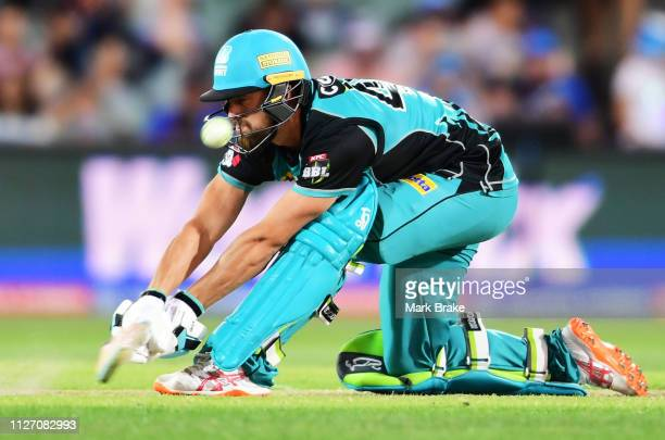 Alex Ross of the Heat bats during the Big Bash League match between the Adelaide Strikers and the Brisbane Heat at Adelaide Oval on February 03 2019...
