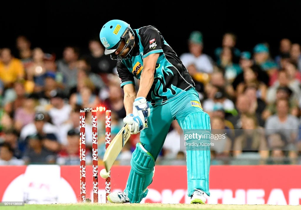 Alex Ross of the Heat is bowled by Jhye Richardson of the Scorchers during the Big Bash League match between the Brisbane Heat and the Perth Scorchers at The Gabba on January 5, 2018 in Brisbane, Australia.