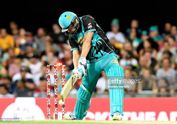 Alex Ross of the Heat is bowled by Jhye Richardson of the Scorchers during the Big Bash League match between the Brisbane Heat and the Perth...