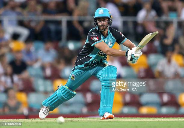 Alex Ross of the Heat plays a shot during the Big Bash League match between the Brisbane Heat and the Perth Scorchers at The Gabba on February 01...