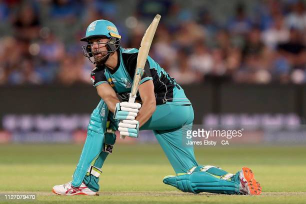Alex Ross of the Heat plays a shot during the Big Bash League match between the Adelaide Strikers and the Brisbane Heat at Adelaide Oval on February...