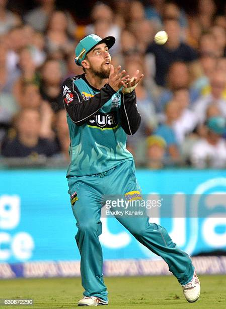 Alex Ross of the Heat takes a catch during the Big Bash League between the Brisbane Heat and Hobart Hurricanes at The Gabba on December 30 2016 in...