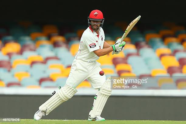 Alex Ross of the Redback bats during day one of the Sheffield Shield match between the Queensland Bulls and South Australia Redbacks at The Gabba on...