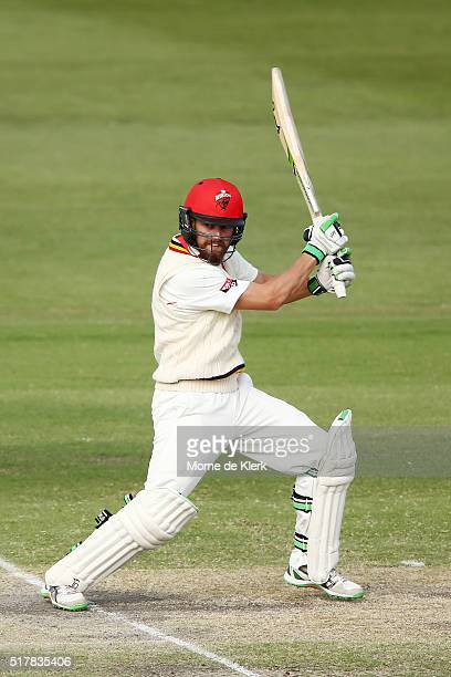 Alex Ross of the Redbacks bats during day 3 of the Sheffield Shield Final match between South Australia and Victoria at Gliderol Stadium on March 28...