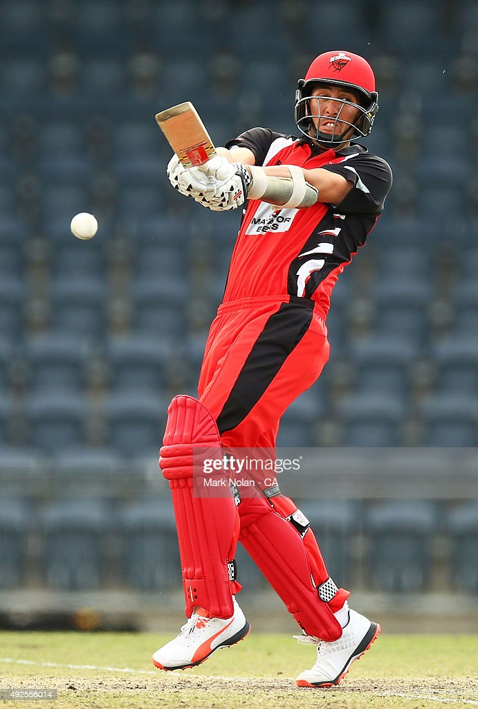 Alex Ross of the Redbacks bats during the Matador BBQs One Day Cup match between South Australia and Tasmania at Blacktown International Sportspark on October 14, 2015 in Sydney, Australia.