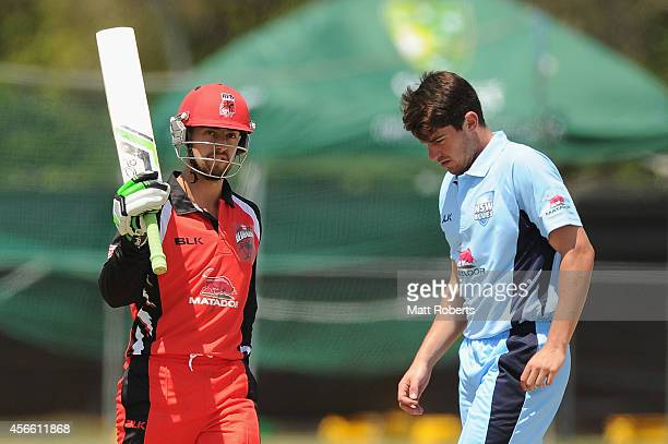 Alex Ross of the Redbacks celebrates his half century during the Matador BBQs One Day Cup match between New South Wales and South Australia at Allan...