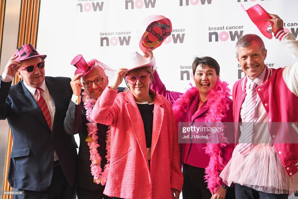 Alex Rowley, leader of the Scottish Labour Party, Patrick Harvie, co-convenor of the Scottish Green Party, First Minister Nicola Sturgeon,Ruth Davidson, leader of the Scottish Conservatives, Willie Rennie, leader of the Scottish Liberal Democrats pose for a picture in support of Breast Cancer Now on September 14, 2017 in Edinburgh, Scotland. Scottish political party leaders have joined forces in support of women with breast cancer to encourage Scots to take part in Breast Cancer Now's 'Wear it Pink' fundraiser.
