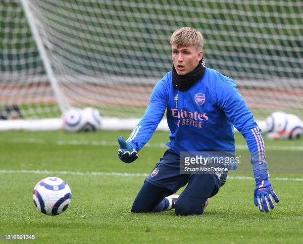 Alex Runarsson of Arsenal during a training session at London Colney on May 08, 2021 in St Albans, England.