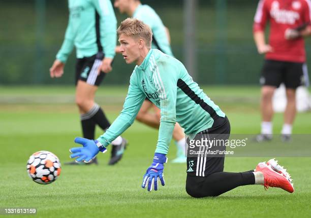 Alex Runarsson of Arsenal during a training session at London Colney on July 30, 2021 in St Albans, England.