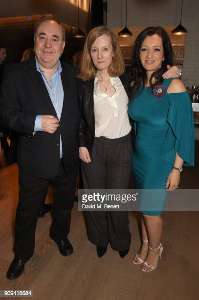 Alex Salmand Denise Silvey and Tasmina AhmedSheikh attend the press night performance of 'Beginning' at the Ambassadors Theatre on January 23 2018 in...