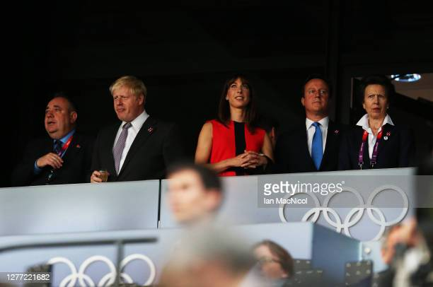 Alex Salmond, Boris Johnson, Samantha Cameron, David Cameron and HRH Princess Anne are seen during the Opening Ceremony of the London 2012 Olympic...