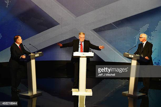 Alex Salmond First Minister of Scotland and Alistair Darling chairman of Better Together are seen alongside host Bernard Ponsonby as they take part...