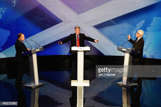 Alex Salmond First Minister of Scotland and Alistair Darling chairman of Better Together take part in a live television debate hosted by Bernard...