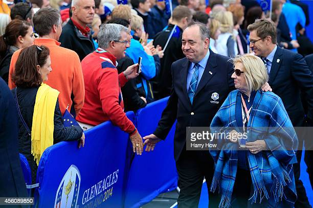 Alex Salmond First Minister of Scotland and wife Moira Salmond leave the Opening Ceremony ahead of the 40th Ryder Cup at Gleneagles on September 25...