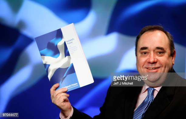 Alex Salmond First Minister of Scotland describes details of his government's draft referendum bill on independence on February 25 2010 in Edinburgh...