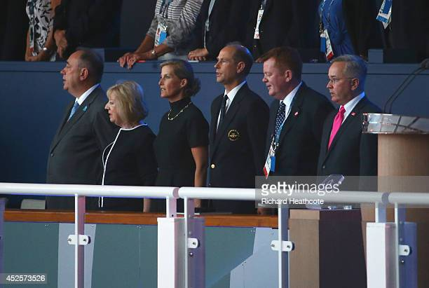 Alex Salmond First Minister of Scotland Moira Salmond Sophie Countess of Wessex and Prince Edward Earl of Wessex during the Opening Ceremony for the...