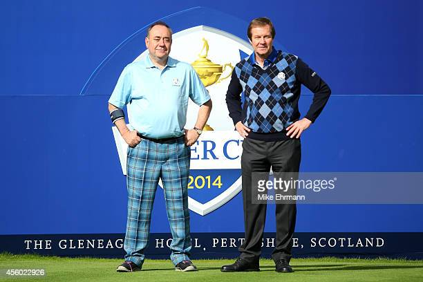 Alex Salmond First Minister of Scotland poses with European Tour Chief Executive George O'Grady ahead of the 2014 Ryder Cup on the PGA Centenary...