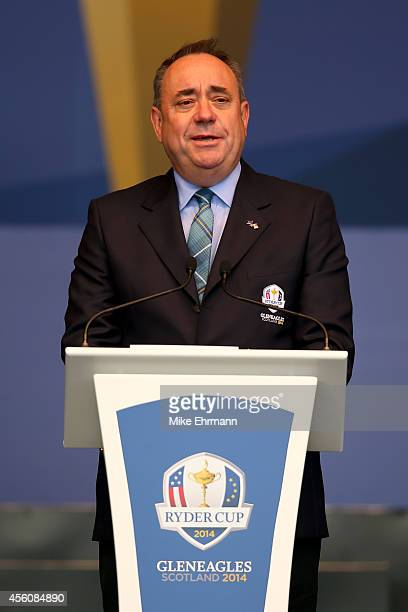 Alex Salmond First Minister of Scotland speaks during the Opening Ceremony ahead of the 40th Ryder Cup at Gleneagles on September 25 2014 in...
