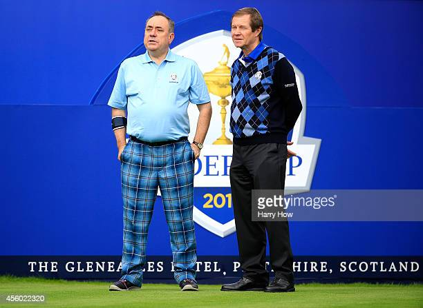 Alex Salmond First Minister of Scotland talks with European Tour Chief Executive George O'Grady ahead of the 2014 Ryder Cup on the PGA Centenary...
