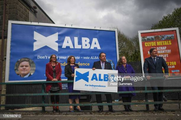 Alex Salmond, leader of the Alba party, and other candidates are seen campaigning on April 29, 2021 in Greenock, Scotland. Scotland heads to the...