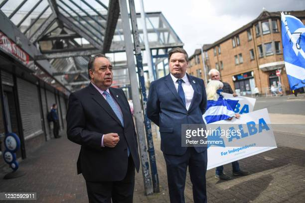 Alex Salmond, leader of the Alba party, is seen campaigning on April 29, 2021 in Greenock, Scotland. Scotland heads to the polls next week in the...