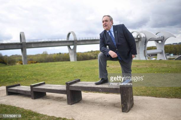 Alex Salmond, leader of the Alba Party, is seen during a campaign event at The Falkirk Wheel on April 30, 2021 in Falkirk, Scotland. Scotland goes to...