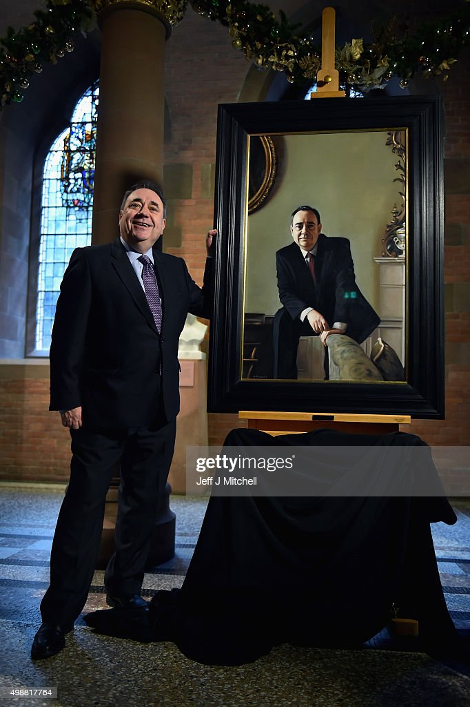 Alex Salmond MP unveils a painting of himself at The National Gallery of Scotland on November 26, 2015 in Edinburgh,Scotland. The portrait by Gerard Burns depicting Mr Salmond in the main reception room of the First Ministers official residence Bute House, was acquired by supporters of Alex Salmond who was the leader of the Scottish National Party from 1990 to 2000 and from 2004 to 2014, and served as the First Minister of Scotland from 2007 to 2014.