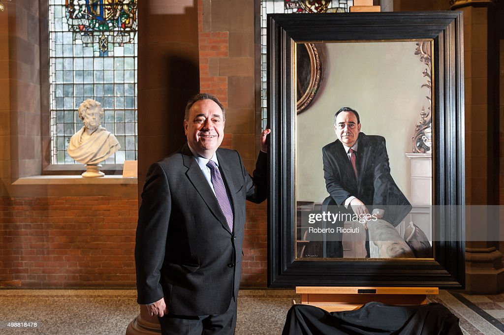 Alex Salmond MP unveils a painting of himself at The National Gallery of Scotland on November 26, 2015 in Edinburgh,Scotland. The portrait by Gerard Burns depicting Mr Salmond in the main reception room of the First Ministers official residence, Bute House was acquired by supporters of Alex Salmond who was the leader of the Scottish National Party from 1990 to 2000 and from 2004 to 2014, and served as the First Minister of Scotland from 2007 to 2014.