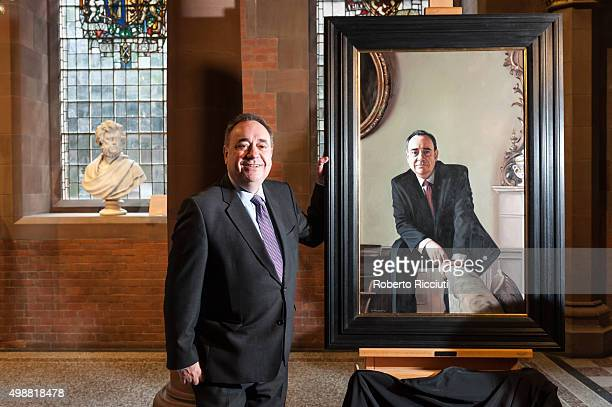 Alex Salmond MP unveils a painting of himself at The National Gallery of Scotland on November 26 2015 in EdinburghScotland The portrait by Gerard...