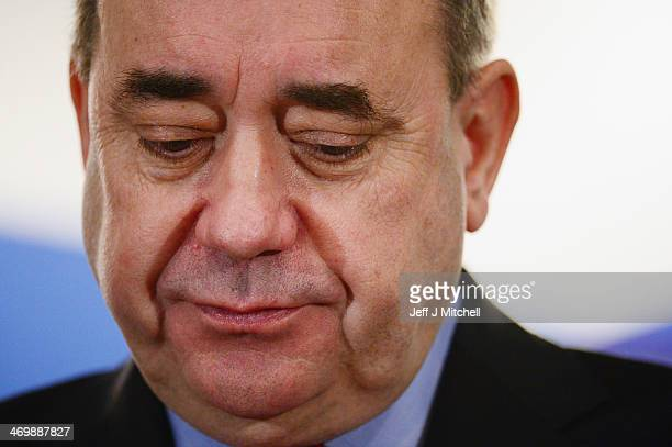 Alex Salmond, Scotlands First Minister addresses a Business for Scotland event on February 17, 2014 in Aberdeen, Scotland. Scotlands first minister...