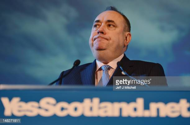 Alex Salmond Scotland's First Minister and leader of the Scottish National Party attend the yes campaign launch with campaign supporters at Cineworld...
