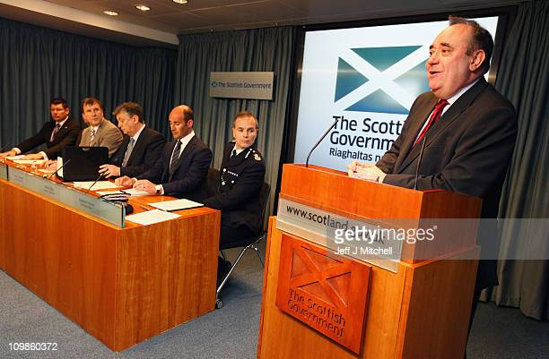 Alex Salmond Scotland's First Minister and Peter Lawell chief executive of Celtic Martin Bain chief executive of Rangers Stephen House Strathclyde...