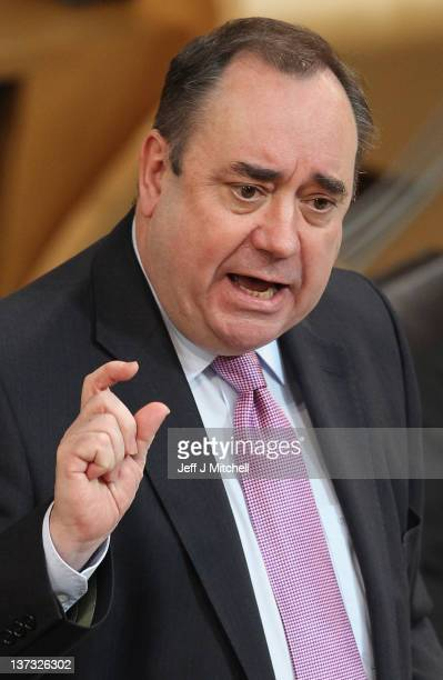 Alex Salmond Scotland's First Minister and Scottish National Party leader attends First Ministers questions at the Scottish Parliament on January 19...