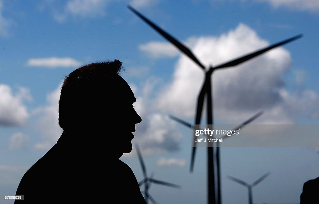 Alex Salmond, Scotland's First Minister, looks on as he visits Whitelee, Europe's largest onshore wind farm, as it officially opens on May 20, 2009 in Eaglesham, Scotland. The Whitelee wind farm will power 180,000 homes and has plans granted by the Scottish Government to power a further 70,000.