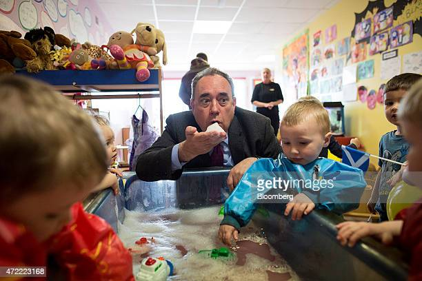 Alex Salmond Scottish National Party candidate visits a nursery while canvassing for votes ahead of the May 7 general election in Insch UK on Monday...