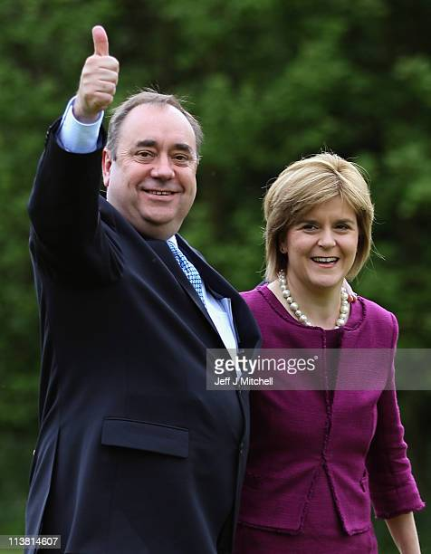 Alex Salmond Scottish National Party Leader and Scotland's First Minister arrives with Deputy Scottish National Party Leader Nicola Sturgeon to...