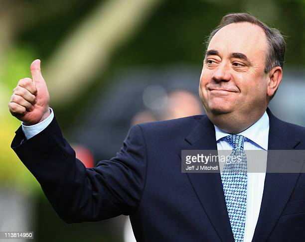 Alex Salmond, Scottish National Party Leader and Scotland's First Minister arrives to deliver his victory speech at Prestonfield House on May 6, 2011...