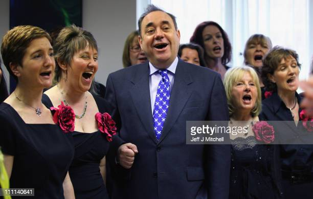 Alex Salmond SNP leader sings with InChorus choir on March 30 2011 in Peebles Scotland The country will go to the polls in the fourth Scottish...