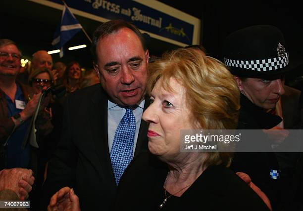 Alex Salmond SNP leaderand his wife Moira arrive at the Aberdeen City and Shire count May 4 2007 in Aberdeen Scotland Results will soon be known in...