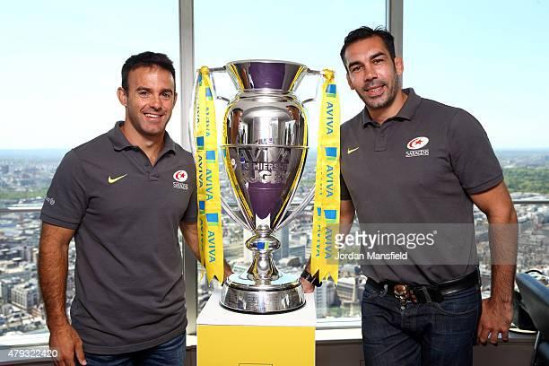 Alex Sanderson of Saracens and Neil de Kock of Saracens pose with the Aviva Premiership trophy during the launch of the Aviva Premiership Rugby...