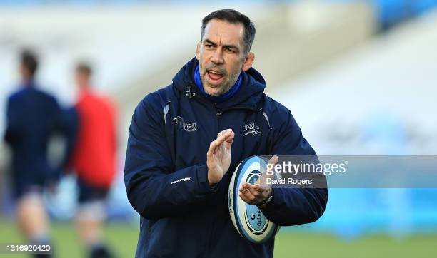 Alex Sanderson, the Sale Sharks director of rugby looks on during the Gallagher Premiership Rugby match between Sale Sharks and Leicester Tigers at...