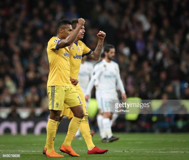 Alex Sandro and Mario Mandzukic of Juventus celebrates after scoring his sides second goal during the UEFA Champions League Quarter Final second leg...