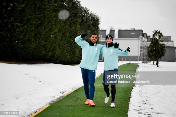 Alex Sandro and Paulo Dybala during a Juventus training session at Juventus Center Vinovo on February 23 2018 in Vinovo Italy