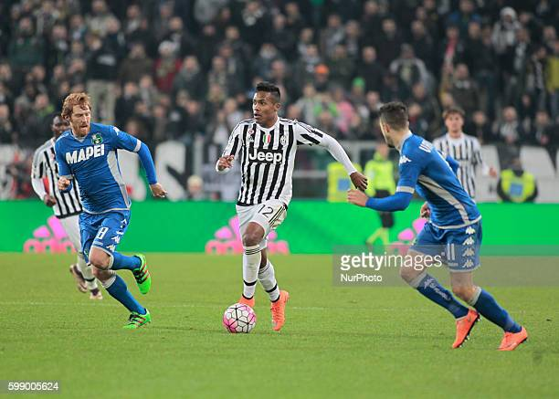 Alex Sandro Davide Biondini and Sime Vrsaljko during the serie A match between Juventus FC and US Sassuolo Calcio at the Juventus Stadium of Turin on...