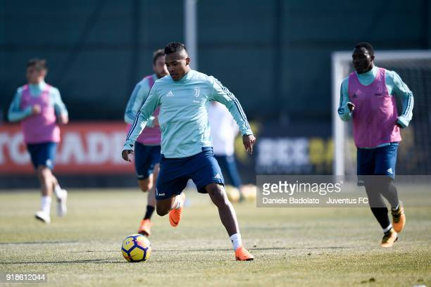 Alex Sandro during a Juventus training session at Juventus Center Vinovo on February 15 2018 in Vinovo Italy