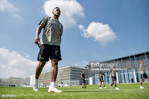 Alex Sandro during a Juventus training session at Juventus Training Center on July 13 2018 in Turin Italy